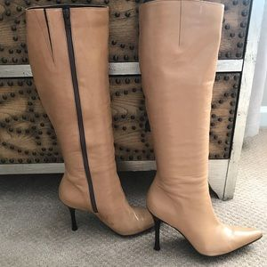 Aldo camel colored leather knee boots